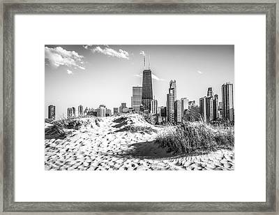 Chicago Beach And Skyline Black And White Photo Framed Print by Paul Velgos