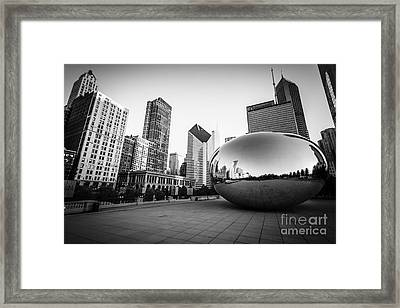 Chicago Bean And Chicago Skyline In Black And White Framed Print by Paul Velgos