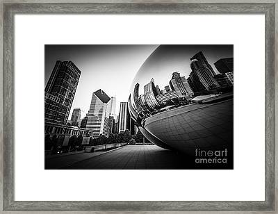 Chicago Bean Cloud Gate In Black And White Framed Print