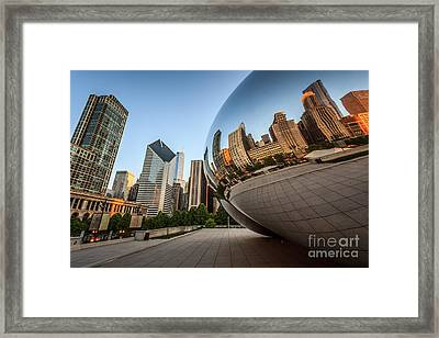 Chicago Bean Cloud Gate Sculpture Reflection Framed Print by Paul Velgos