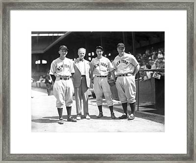 Lou Gehrig And Teammates Framed Print by Retro Images Archive