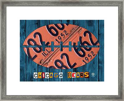 Chicago Bears Football Recycled License Plate Art Framed Print