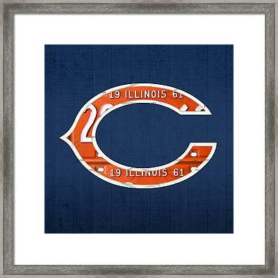Chicago Bears Football Team Retro Logo Illinois License Plate Art Framed Print
