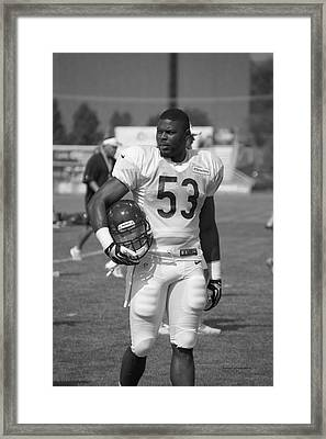 Chicago Bears Lb Jerry Franklin Training Camp 2014 Bw Framed Print by Thomas Woolworth