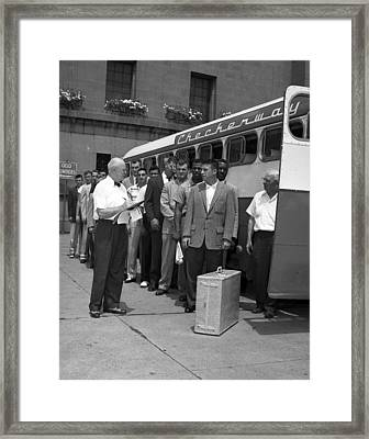Chicago Bears Players Board Charter Bus Framed Print by Retro Images Archive