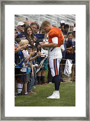 Chicago Bears Qb Jimmy Clausen Training Camp 2014 02 Framed Print by Thomas Woolworth