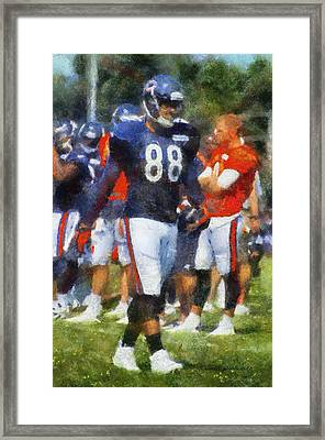 Chicago Bears Te Dante Rosario Training Camp 2014 Photo Art 02 Framed Print by Thomas Woolworth