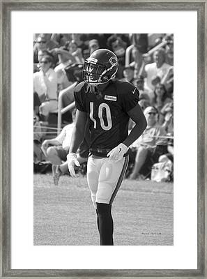 Chicago Bears Wr Marquess Wilson Training Camp 2014 Bw Framed Print by Thomas Woolworth