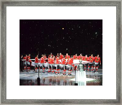 Chicago Blackhawks And The Banner Framed Print by Melissa Goodrich