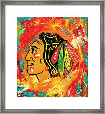 Chicago Blackhawks Logo Framed Print by Elliott From