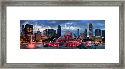 Chicago Blackhawks Skyline Framed Print by Jeff Lewis