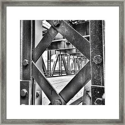 Chicago Bridge Iron In Black And White Framed Print