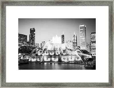 Chicago Buckingham Fountain Black And White Picture Framed Print by Paul Velgos