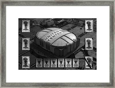 Chicago Bulls Banners In Black And White Framed Print by Thomas Woolworth