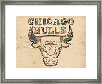 Chicago Bulls Logo Vintage Framed Print