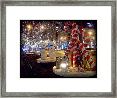 Chicago Christmas Candy Canes Framed Print