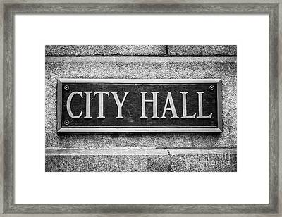 Chicago City Hall Sign In Black And White Framed Print by Paul Velgos