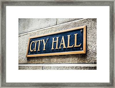 Chicago City Hall Sign Framed Print