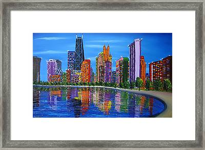 Chicago City Lights #1 Framed Print by Portland Art Creations