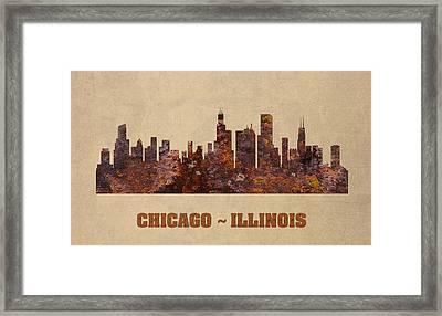 Chicago City Skyline Rusty Metal Shape On Canvas Framed Print