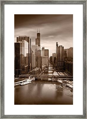 Chicago City View Afternoon B And W Framed Print by Steve Gadomski