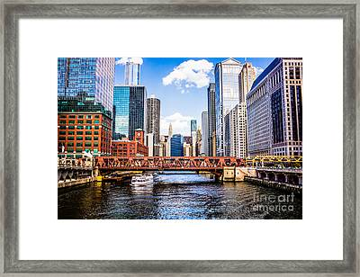 Chicago Cityscape At Wells Street Bridge Framed Print by Paul Velgos