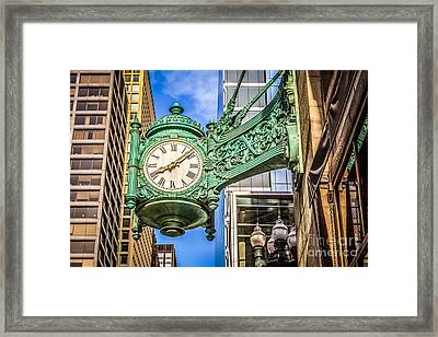 Chicago Clock Hdr Photo Framed Print