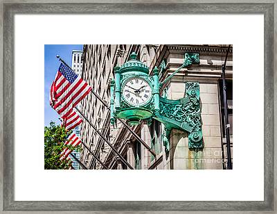 Chicago Clock On Macy's Marshall Field's Building Framed Print by Paul Velgos
