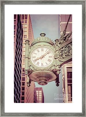 Chicago Clock Retro Photo Framed Print by Paul Velgos