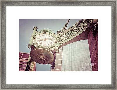Chicago Clock Vintage Photo Framed Print by Paul Velgos
