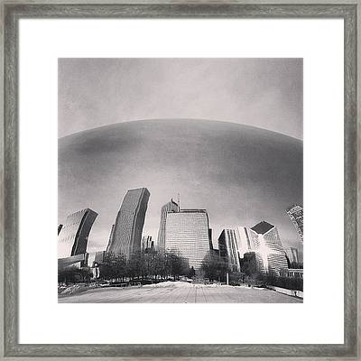 Cloud Gate Chicago Skyline Reflection Framed Print