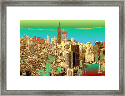 Chicago Pop Art In Blue Green Red Yellow Framed Print