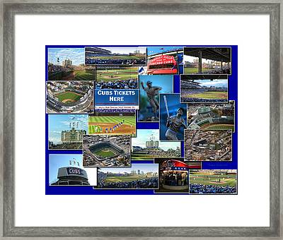 Chicago Cubs Collage Framed Print by Thomas Woolworth