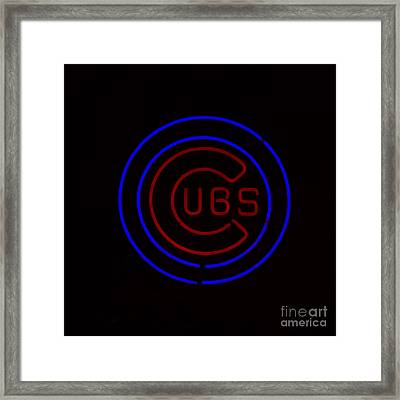 Chicago Cubs Neon Sign Framed Print by Emily Kay