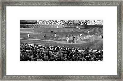 Chicago Cubs On The Defense Framed Print by Thomas Woolworth