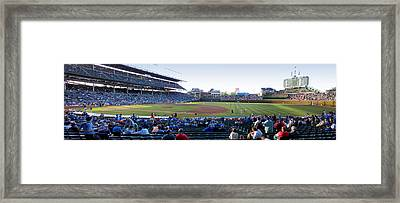 Chicago Cubs Pregame Time Panorama Framed Print by Thomas Woolworth