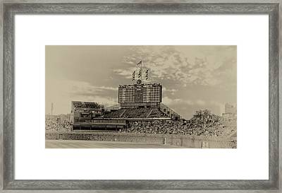 Chicago Cubs Scoreboard In Heirloom Finish Framed Print by Thomas Woolworth