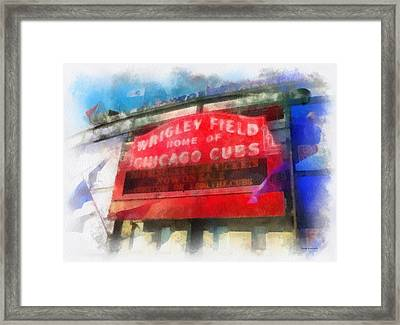 Chicago Cubs Wrigley Field Marquee Photo Art 01 Framed Print by Thomas Woolworth
