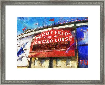 Chicago Cubs Wrigley Field Marquee Photo Art 02 Framed Print by Thomas Woolworth