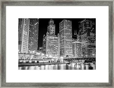 Chicago Downtown At Night Black And White Picture Framed Print by Paul Velgos