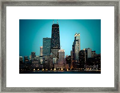 Chicago Downtown At Night With Hancock Building Framed Print by Paul Velgos