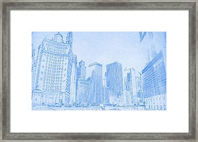 Chicago Downtown Blueprint Framed Print by MotionAge Designs