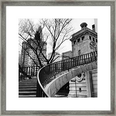 Chicago Staircase Black And White Picture Framed Print