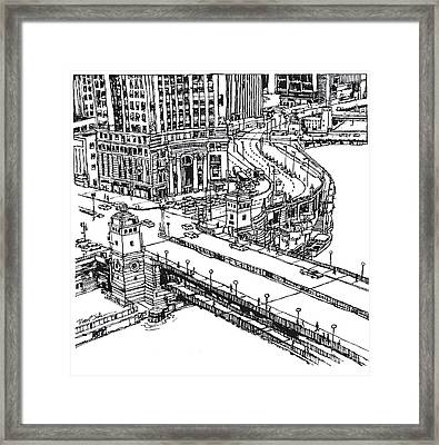 Chicago Downtown View Of Michigan Ave. And Wacker Dr. Framed Print