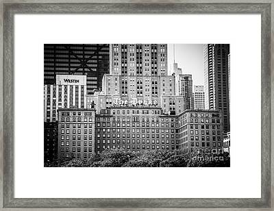 Chicago Drake Hotel In Black And White Framed Print by Paul Velgos