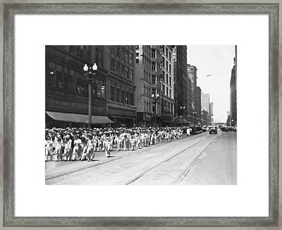 Chicago Eat More Meat Parade Framed Print by Underwood Archives