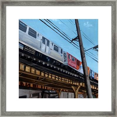 Chicago El Train Blue Line Framed Print