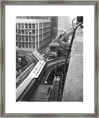 Chicago El Train Framed Print by Underwood Archives