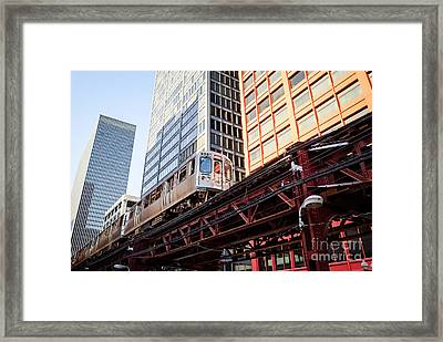 Chicago Elevated L Train With Downtown Buildings Framed Print by Paul Velgos
