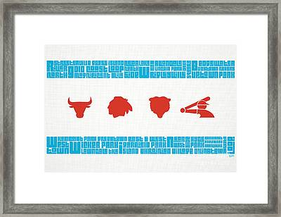 Chicago Flag Sports Teams V2 Framed Print by Mike Maher